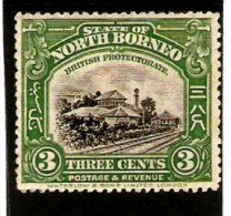 NORTH BORNEO 1923 3c GREEN SG 163 PERF 13½ - 14 LIGHTLY MOUNTED MINT Cat £55 - Nordborneo (...-1963)
