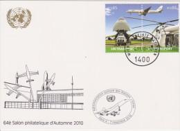 United Nations Show Card 2010 ´Salon Philatélique Paris´ - November 2010 - Mi 690-691 UN Transport - Airplanes - Centre International De Vienne