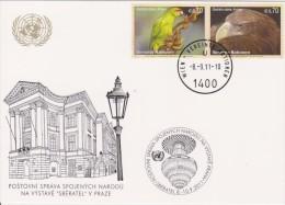 United Nations Show Card 2011 ´Sbératel´ - September 2011 - Mi 732-733 Endangered Species - Red-fronted Parakeet - Eag - Centre International De Vienne