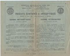 Prospectus/Société Française Des Produits Sanitaires Et Antiseptiques/Savons Antiseptiques Crésyl-Jeyes/1901       VP707 - Droguerie & Parfumerie