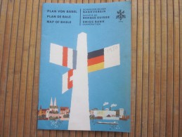 1950 Plan De Bale Basle Basel Suisse  Helvetia Swiss Bank Guide Touristique Publicitaire  Schéma De Ligne Reseaux - Europe