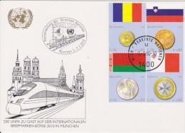 United Nations Show Card 2010 ´München´ - March 2010 - Mi 626-629 Flags And Coins - Romania - Slovenia - Belarus - Centre International De Vienne