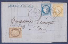 France N°55,56,60 Pli Tricolore - Obl. GC & T.17 Coutras (32) 1874. TB - 1871-1875 Cérès