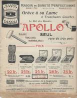 Rasoir/ APOLLO/Lame à Tranchants Courts/ Tarifs/ Rasoir De Sûreté Perfectionné /Vers 1900-1910       VP709 - Droguerie & Parfumerie