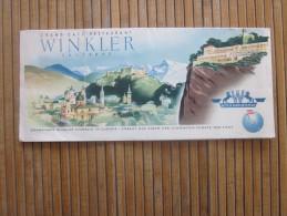 Grand Café Restaurant Winkler SALZBURG 1950  Guide Depliant Touristique Publicitaire Osstereich Autriche Austria - Reiseprospekte