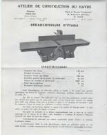 Machine/Dégauchisseuse D'Etabli/ Atelier De Construction Du Havre /HARFLEUR/Le HAVRE/Vers 1950     VP714 - Old Professions