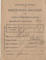 Carte D'immatriculation/Assurances Sociales/ Ministére Du Travail /Limours/1933       VP716 - Autres