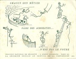 BUVARD COLLECTION 75 PARIS SECURITE SOCIALE CIRQUE ACROBATES METIER PUBLICITE - Buvards, Protège-cahiers Illustrés