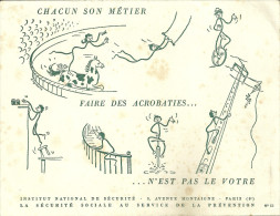 BUVARD COLLECTION 75 PARIS SECURITE SOCIALE CIRQUE ACROBATES METIER PUBLICITE - Collections, Lots & Series