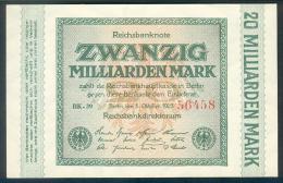 Deutschland, Germany - 20 Mrd. Mark, Reichsbanknote, Ro. 115 A ,  ( Serie BK ) UNC, 1923 ! - [ 3] 1918-1933: Weimarrepubliek