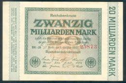 Deutschland, Germany - 20 Mrd. Mark, Reichsbanknote, Ro. 115 A ,  ( Serie BK ) 1923 ! - 1918-1933: Weimarer Republik