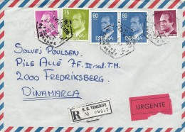 Registered  Cover Sent  To Denmark.   Spain  H-373 - 1931-Aujourd'hui: II. République - ....Juan Carlos I