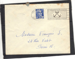 Sur Lettre Yvert  886 Gandon Cachet Flamme Oblitération Marine Nationale  Colmar RP 12/2/ 1953 - 1945-54 Marianne Of Gandon