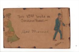 12205 - Carte En Cuir Leather Postcard  Two $ 5°° Loads On Saturday Night  Femme Et Homme En Verts - Couples