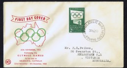 1955  Melbourne Olympic Games 2/-  Dark Green  WCS Cachet - FDC