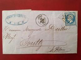 Cad LURE + GC 2128 Pour SOULTZ HAUT RHIN + Bureau De Passe 4169 Vesoul Type C Au Versol - Marcophilie (Lettres)
