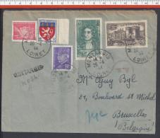 FR - 1944 -  LOIRET -  RECOMMANDE PROVISOIRE DE MONTARGIS POUR BRUXELLES AVEC CENSURE - - Storia Postale