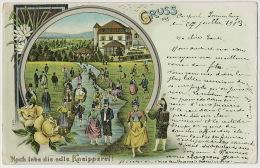 Litho Gruss Aus Carspach Sonnenberg 1903 Hoch Lebe Die Edle Kneipperei - Other Municipalities