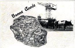 ILE DE LA REUNION   -  BONNE ANNEE  CARTE GEOGRAPHIQUE  ATTELAGE - La Réunion