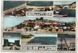 TOSCANA-GROSSETO-CASTIGLIONE DELLA PESCAIA VEDUTE ANNI 50 SALUTI DA - Italia