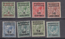 Morocco Agencies KGV 1917 French Currency Mon Fra SG191-96 & 198-99 Mounted Mint - Altri