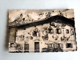Carte Postale Ancienne : Mittenwald  Bemaltes Bauernhaus, Timbre 1955 - Mittenwald