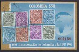 HF38.-.KOLUMBIEN / COLOMBIA.-1981 - S/S.- USED ADD RATE. MI: BLOCK 38.- UPU.- ONE CENTURY COLOMBIA ADD TO UPU. CV:€ - Kolumbien