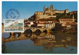 FRANCE => Carte Maximum => 0,40 - BEZIERS (Cathédrale St Nazaire) - Obl Ordinaire Dernier Jour 19/04/1969 - Cartas Máxima