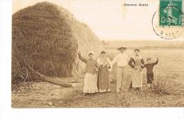 CPSM AGRICULTURE FENAISON- Groupe Familial De PAYSANS - JOYEUX AMIS -  RECTO VERSO - Non Classificati