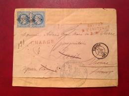 Chargé VIENNE Cad+ PC 4199 Pour PARIS Puis Retour Tribunal De VIENNE - Marcophilie (Lettres)