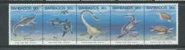 Barbados 1993 Pre - Historic Marine Animals Strip 5 MNH , Couple Light Gum Bends - Barbados (1966-...)