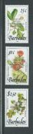Barbados 1990 Royal Visit Overprint On Flower Definitive Set 3 MNH - Barbados (1966-...)