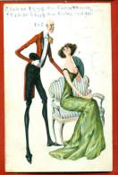ROMANCE MAN AND WOMAN VINTAGE POSTCARD USED W3076 - Antes 1900