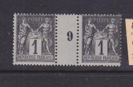 FRANCE N° 83 1C NOIR SUR AZURE TYPE SAGE MILLESIME 9 NEUF SANS CHARNIERE - Millesimes