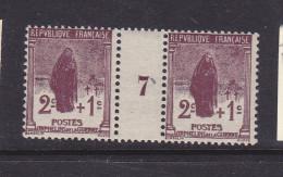 FRANCE N°229 2C + 1C BRUN LILAS TYPE ORPHELINS MILLESIME 7 NEUF SANS CHARNIERE - Millésimes