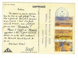 """VEND TIMBRES DE LA COTE FRANCAISE DES SOMALIS N°264+268+269 SUR CPA""""LABORATOIRE LA BIOMARINE""""(PLASMARINE-IONYL) !!!! - Côte Française Des Somalis (1894-1967)"""