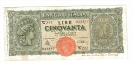 50 LIRE ITALIA TURRITA 10 12 1944 SERIE SOSTITUTIVA W282 R2 BB LOTTO 254 - 50 Lire