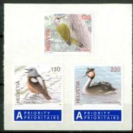 SVIZZERA / HELVETIA 2008** - Uccelli / Birds - 3 Val.autoadesivi In Block MNH Come Da Scansione. - Uccelli