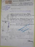 Timbre De Dimension De 4 Francs (4 De 8 Francs Au Verso) Sur Signification D' Ordonnance De Référé. 1935 - Cinemania