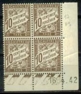 France Bloc De 4 - Coin Daté 1942 - Yvert Taxe N° 29 Xx - Cote 5 Euros - Prix De Départ 1 Euro - Impuestos