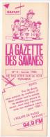 Rennes 35 France - Dépliant Journal De Radio Libre FM La GAZETTE DES SAVANNES - N° 0 Janv 1985