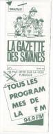 Rennes 35 France - Dépliant Journal De Radio Libre FM La GAZETTE DES SAVANNES - N° 1 Mars 1985