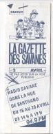 Rennes 35 France - Dépliant Journal De Radio Libre FM La GAZETTE DES SAVANNES - N° 2 Avril 1985