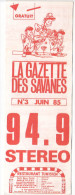 Rennes 35 France - Dépliant Journal De Radio Libre FM La GAZETTE DES SAVANNES - N° 3 Juin 1985