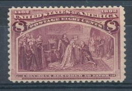 USA 1893. Scott # 236. 8 C  Magenta. Columbian Exposition Issue. Unused, Original Gum - 1847-99 General Issues