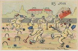 Les Jeux Le Croquet Militaires  Signée Comique Ecrite Montelimar 23 Juillet 1914 - Cartes Postales