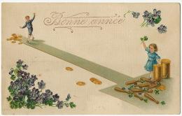 Jeu De Quille  Avec Pièces Or Monnaie Enfants Gaufrée Embossed Skittles With Gold Coins - Cartes Postales