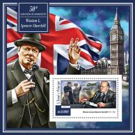 st15103b S.Tome Principe 2015 50th memorial anniversary of Winston Churchill s/s Flag Clock Airplane