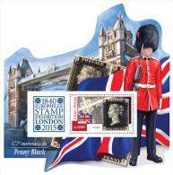 st15102b S.Tome Principe 2015 175th anniversary of Penny Black Europhilex Stamp Exhibition London s/s Train Bridge