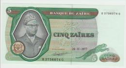 Zaire 5 Zaires 1977 Pick 21b AUNC - Zaire